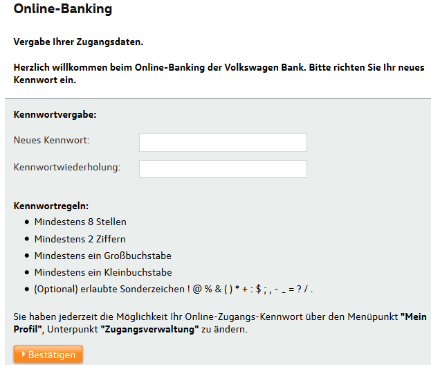 VW Bank Erstlogin