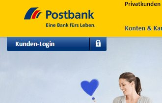 Login Button der Postbank Webseite
