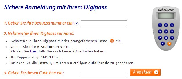 Login -Eingabefeld der RaboDirect. Quelle: rabodirect.de