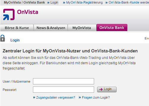 Onvista Bank Login
